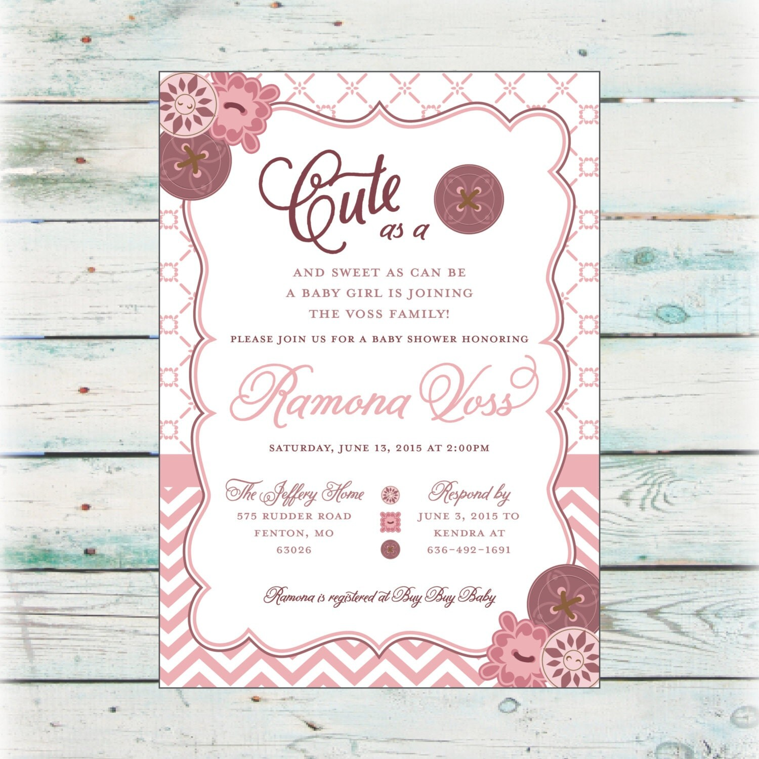 printable cute as a button baby shower invitation digital