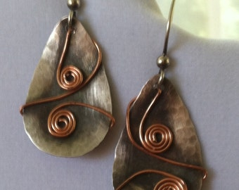 Fine Silver Drop Earrings with Scrolled Copper Wire