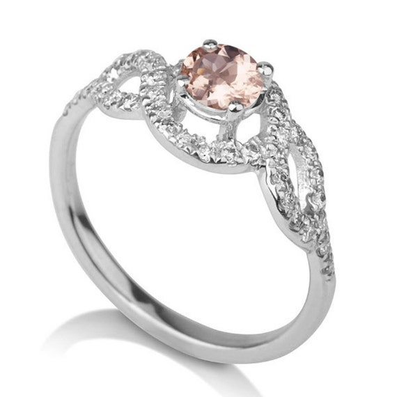 morganite engagement ring 14k white gold vintage designer