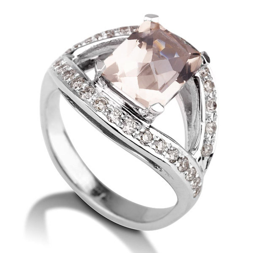 morganite engagement ring 14k white gold classic designer