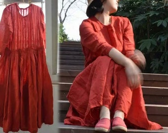 263--Washed Ramie Red Dress, Made to order.