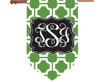 Monogrammed Chinoiserie House Flag