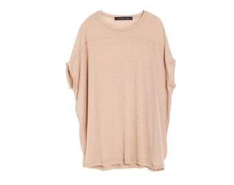 Beige T shirt , Women' Tunic Shirt , Oversize Top , Summer Blouse