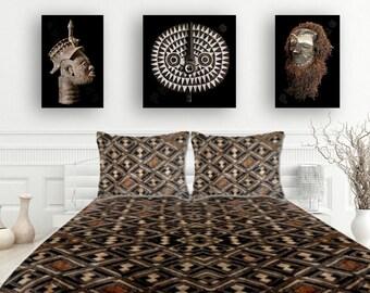 Exclusive Kuba Cloth Design / 3-Piece Set - Duvet Cover + 2 Matching Pillow Shams / Brushed Polyester Fabric / Stylish African Art Pattern
