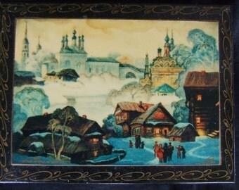 Vintage Russian Lacquerware Palekh Box , Vintage Folk Decor