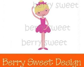little ballerina ballet machine embroidery design instant download