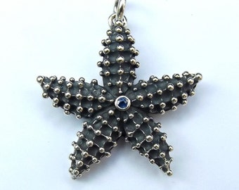 Starfish necklace. Silver and sapphire starfish pendant