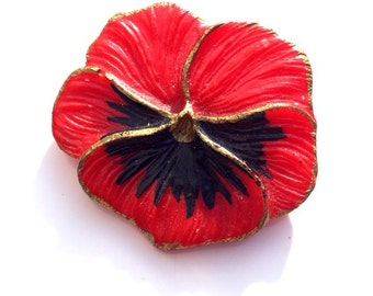 Vintage Art Deco Carved Early Plastic Hand Painted Red Pansy Flower Brooch