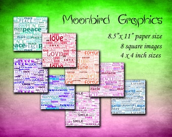 TYPOGRAPHY - Digital Collage Sheet- instant download – 4 x 4 inches -Printable Download for making coasters and cards