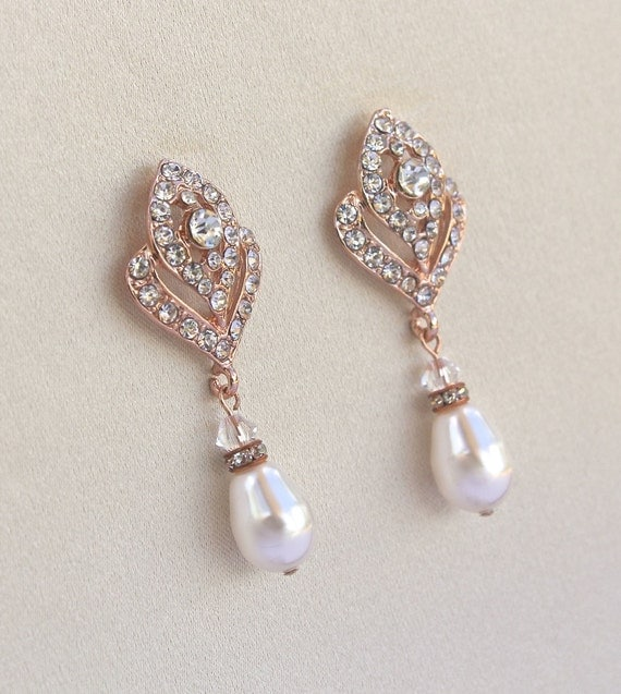 Pearl Drop Earrings In Rose Gold Rose Gold Bridal Earrings