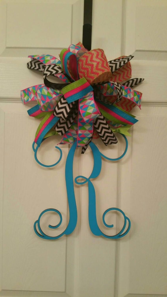Hand Painted Initial Door Hanger With A Large Ribbon Bow