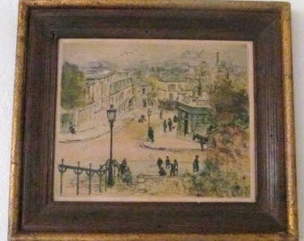 1920's Eugene Veder Hand Signed Antique Colored Etching Parisian Street Scene Paris, France Art