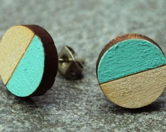Wooden Circle Earrings - Half Blue