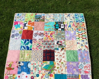 I Spy baby quilt and playmat with 49 different fabrics