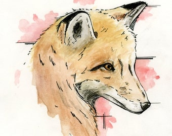 Red Fox Original Watercolor Painting and Ink 8x10
