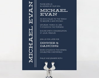 Simple Bar or Bat Mitzvah Invitation