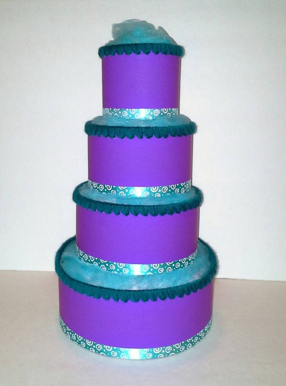 teal and purple themed baby shower 4 tier diaper cake table