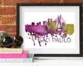 Sao Paulo Art, Sao Paulo Skyline, Sao Paulo map, Sao Paulo skyline, Sao Paulo map print