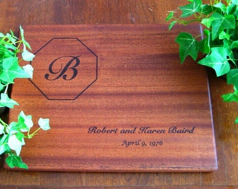 Personalized Cutting Board, Custom Engraved, Mahogany, Wedding Gift, Housewarming Gift, Anniversary Gift, Birthday Gift