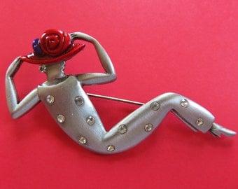 JJ Jonette Red Hat Society Lady Brooch Pin