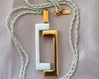 Vintage Monet white and gold pendant necklace