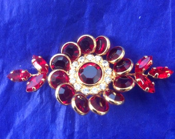 1950s ruby crystal flower brooch