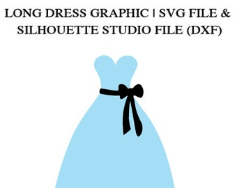 Long Dress with Sash File for Cutting Machines | SVG and Silhouette Studio (DXF)