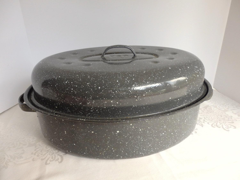 Vintage Gray Granite Ware Roaster 16 Inch Granite Ware