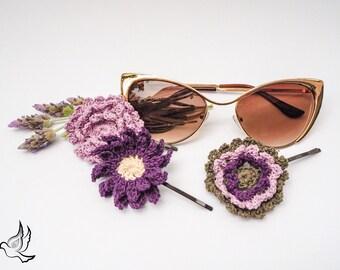 Trio of Floral Bobby Pins, Crochet Flower, Gypsy Hair, Lavender Hair Clips, Floral Hair Pins, Purple Hair Accessory, Hair Flowers
