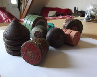 7 antique spinning tops