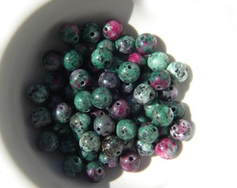 10 Ruby Zoisite Beads 6mm