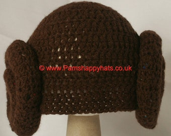 Star Wars Inspired Hand Crocheted Princess Leia Hat