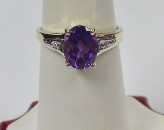 Natural Amethyst Diamond Ring 10kt Yellow Gold