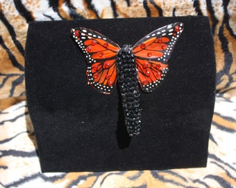 Orange Feather Butterfly Hairclip with Crystal Rhinestones Pinup Burlesque Rockabilly VLV Tiki Oasis