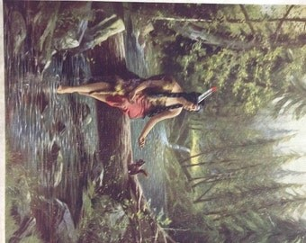 Original Vintage Indian Maiden and Squirrel Calendar Print