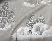 SALE SALE Christmas Fabric Gray Natural linen fabric  Width 57'' x  Length 73''