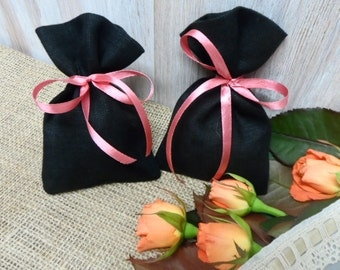 Linen Bag. Favor bags black. Linen favor bags. Small Gift Bag. Small Jewelry Bags. Black Linen Bags pink ribbon