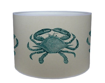 Blue crab shade/ lamp shade/ ceiling shade/ drum lampshade/ lighting/ nautical/ handmade/ home/ sea side