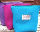 Harris Tweed Washbag - plain weave, make up bag, woman accessory, storage, cosmetic bag, vanity storage