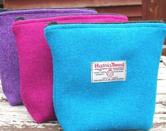 Harris Tweed Washbag - plain weave, make up bag, woman accessory, storage, cosmetic bag, vanity storage