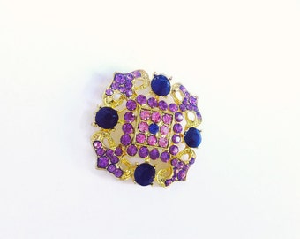 Large Vintage Purple and Gold Brooch, Regal Purple Rhinestone Gold Toned Brooch, Big Rhinestone Brooch, Big Russian style Jeweled Brooch Pin
