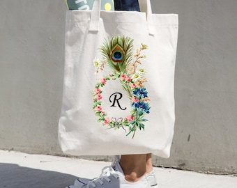 Personalized Floral Rose Wreath with Peacock Feather Tote Bag-YOUR initial