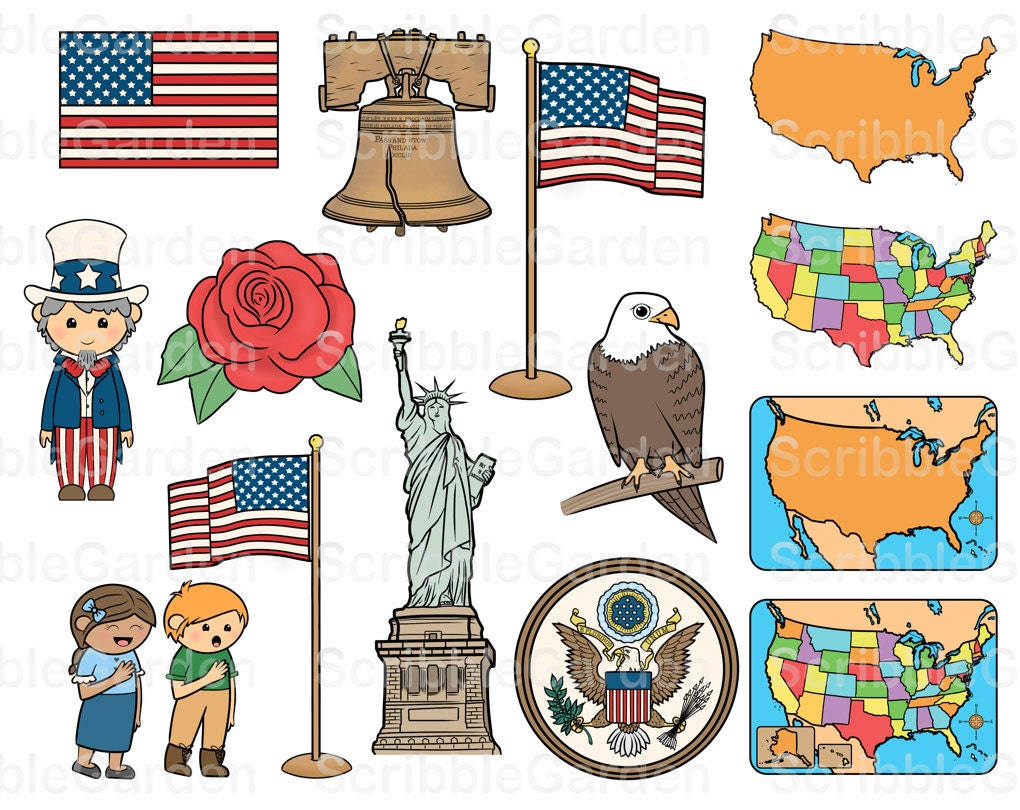 USA National Symbols ClipArt by ScribbleGarden on Etsy
