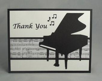 Handmade Music Teacher Appreciation Card, Teacher Thank You Card, Gift, Piano, Musical, Note Card, Music Lover, Musician