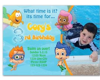 Bubble Guppies Birthday Invitation, Bubble Guppies Invite, Chevron, PRINTABLE (4)