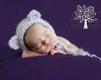 Handmade Baby Bear Bonnet Hat / Newborn Infant Crochet Photo Prop / Perfect Baby Shower Gift / Teddy Bear Outfit