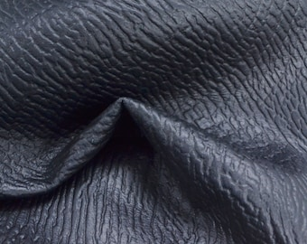 "Deepest Midnight Blue Leather Cow Hide 12"" x 12"" Pre-cut 3 1/2 ounces Shark embossed TA-24538 (Sec. 5,Shelf 5,A)"