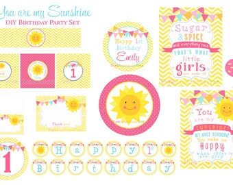 You Are My Sunshine Birthday Party Package, First Birthday, Decorations, Cupcake Toppers, Banner, Sunshine theme, One