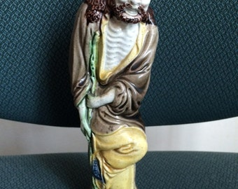 Vintage Chinese Mud Man Figurine Marked China, Chinese Mud Man On Cain