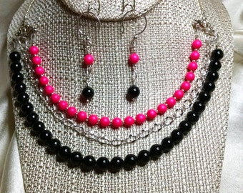 Black and Neon Pink Pearl 3-Strand Necklace and Earring set embellished with crystals from Swarovski®